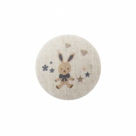 Bunny soft toy button  - grey/ natural