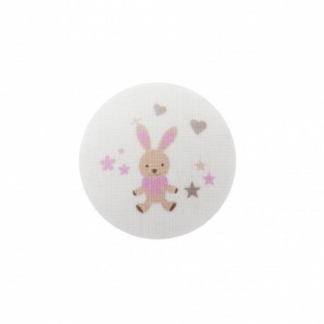 Bouton Mon doudou lapin - rose/ blanc
