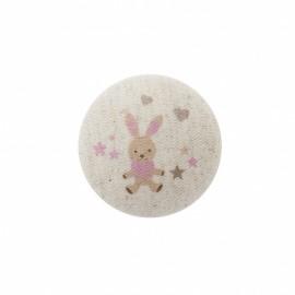 Bouton Mon doudou lapin - rose/ naturel