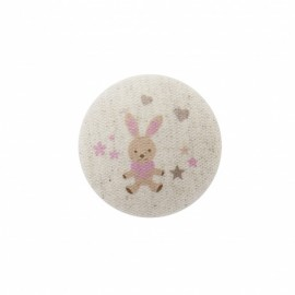 Bunny soft toy button  - pink/ natural