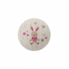 Bunny soft toy button  - fuchsia/ natural