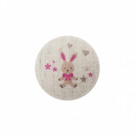 Bouton Mon doudou lapin - fuchsia/ naturel