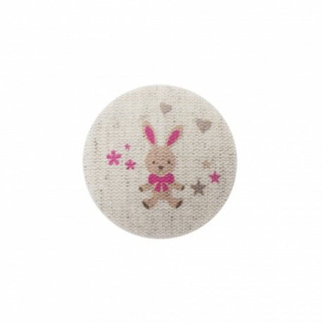 Bunny soft toy button  - fuchsia/ natural