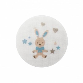 Bunny soft toy button  - turquoise/ white