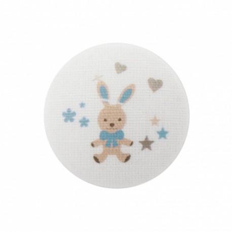 Bouton Mon doudou lapin - turquoise/ blanc