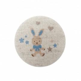 Bouton Mon doudou lapin - turquoise/ naturel