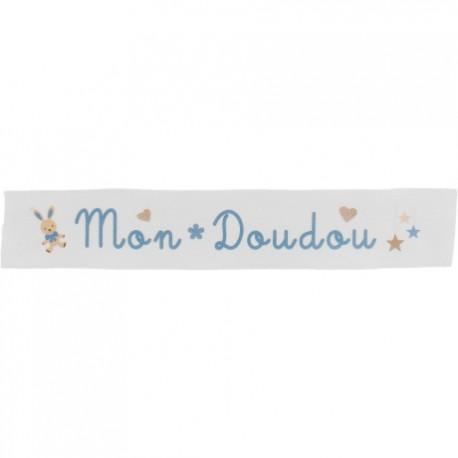 Ruban sergé Mon doudou - bleu sur fond blanc x 25cm