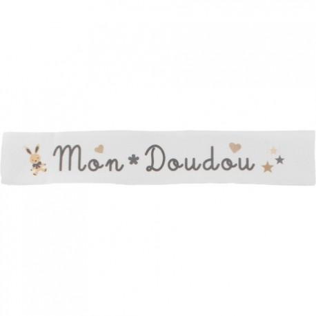 Ruban sergé Mon doudou - gris sur fond blanc x 25cm