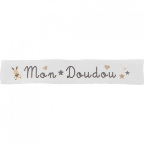 Twill ribbon Mon doudou - grey on white x 25cm