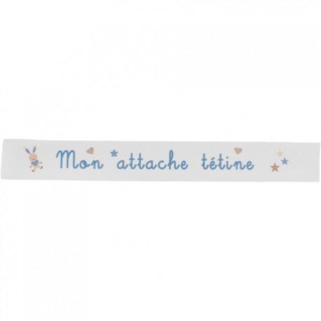 Ruban sergé Mon attache tétine - turquoise sur fond blanc x 35cm