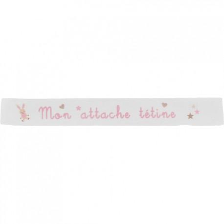 Ruban sergé Mon attache tétine - rose sur fond blanc x 35cm