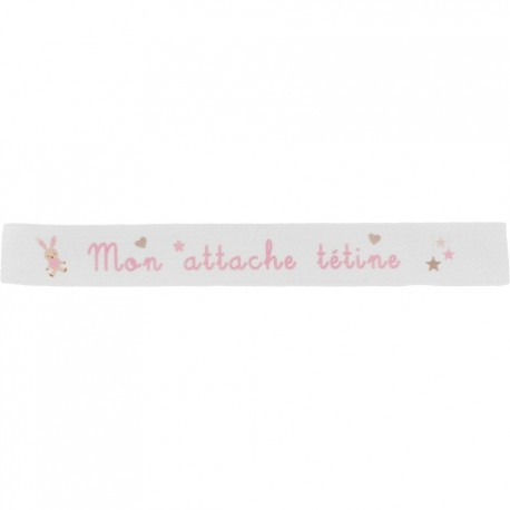Twill ribbon Mon attache tétine - pink on white x 35cm