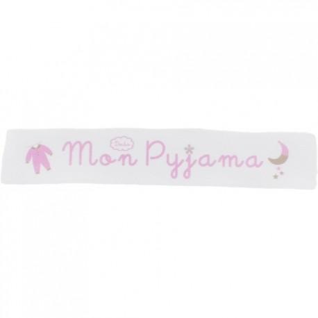 Ruban sergé Mon pyjama - rose sur fond blanc x 25cm