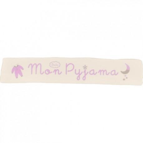 Ruban sergé Mon pyjama - rose sur fond écru x 25cm