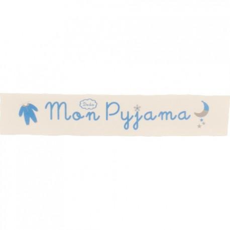Ruban sergé Mon pyjama - turquoise sur fond écru x 25cm