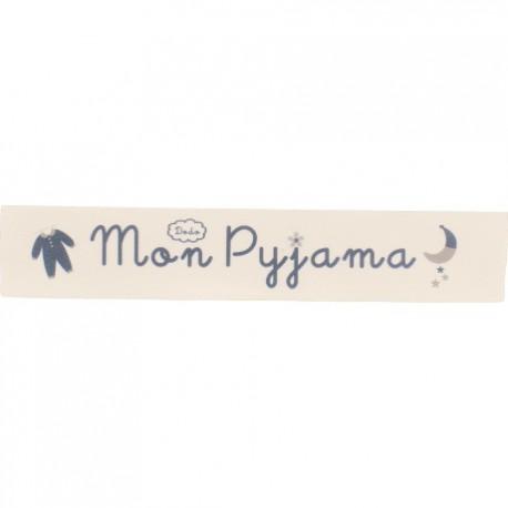 Twill ribbon Mon pyjama - grey on ecru x 25cm