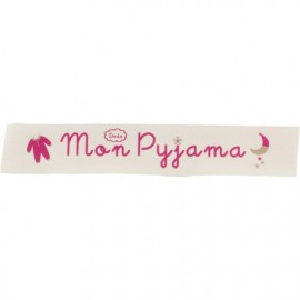 Twill ribbon Mon pyjama - fuchsia on ecru x 25cm
