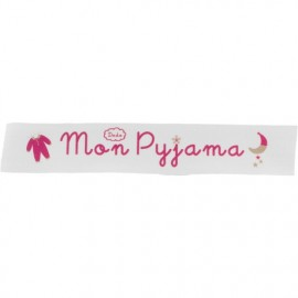 Twill ribbon Mon pyjama - fuchsia on white x 25cm