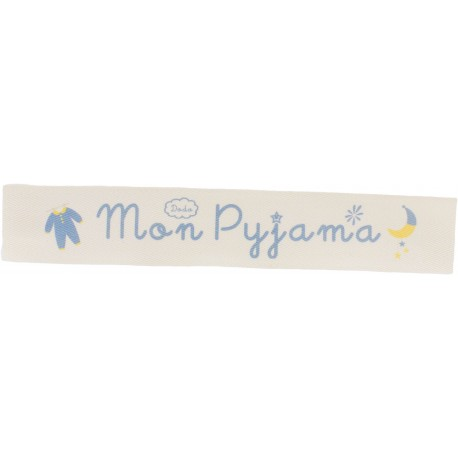 Ruban sergé Mon pyjama - bleu sur fond écru x 25cm