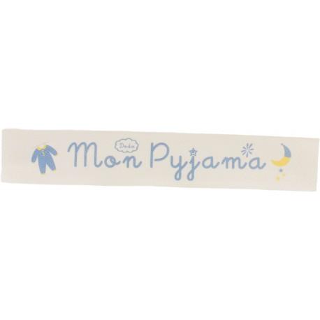Twill ribbon Mon pyjama - blue on ecru x 25cm