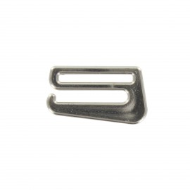 Crochet pour soutien-gorge aspect metal - argent x 1