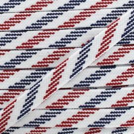 Cordon plat tressé maritime - bleu/ blanc/ rouge x 1m