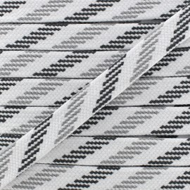 Cordon plat tressé maritime - Anthracite/ blanc/ gris clair x 1m