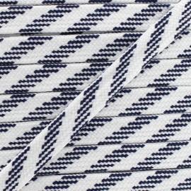 Cordon plat tressé Bao- blanc/ marine x 1m