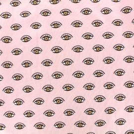Poppy jersey fabric Shining eyes - pink x 10cm