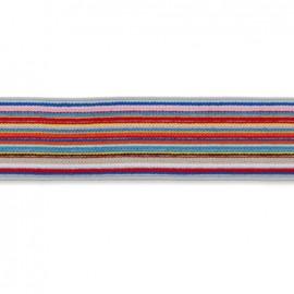 Elastique plat bayadère 30 mm - multicolore x 1m