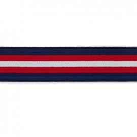Elastique plat rayure island 27 mm -bleu, blanc, rouge x 50cm