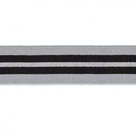 Elastique plat quiberon 40 mm - argent, gris, noir x 50cm