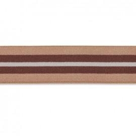 Flat elastic quiberon 40 mm - grey, beige, brown x 1m