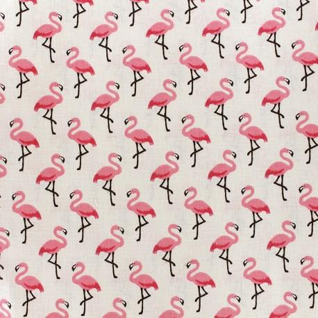 Tissu coton crétonne Flamingo - crème/rose x 10cm