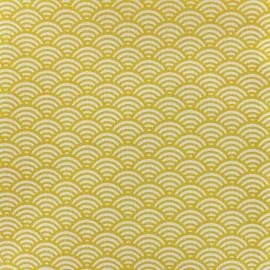 Tissu coton cretonne Sushis - jaune x 10cm