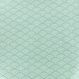 Tissu coton cretonne Sushis - vert x 10cm