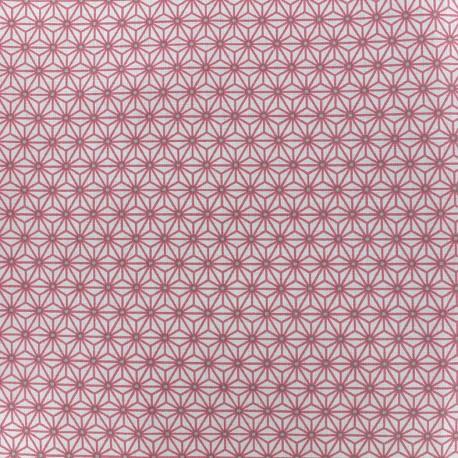 Tissu coton crétonne Saki - ivoire/rose x 10cm