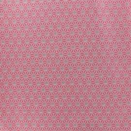 Tissu coton crétonne Saki - rose/ivoire x 10cm