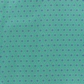 Tissu coton crétonne Saki - aqua/ivoire x 10cm