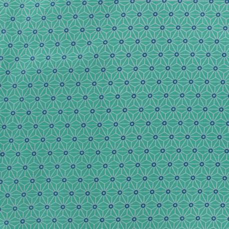 Cretonne cotton Fabric Saki - aqua/ivory x 10 cm
