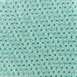 Cretonne cotton Fabric Saki - ivory/aqua x 10 cm