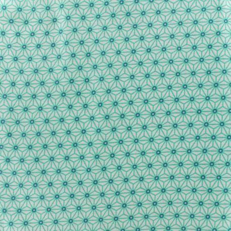 Tissu coton crétonne Saki - ivoire/aqua x 10cm