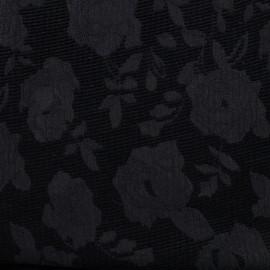 Velvet jacquard fabric Blossom - black x 10cm