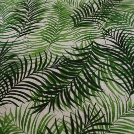 Tissu toile lin Feuillage - vert x 50cm