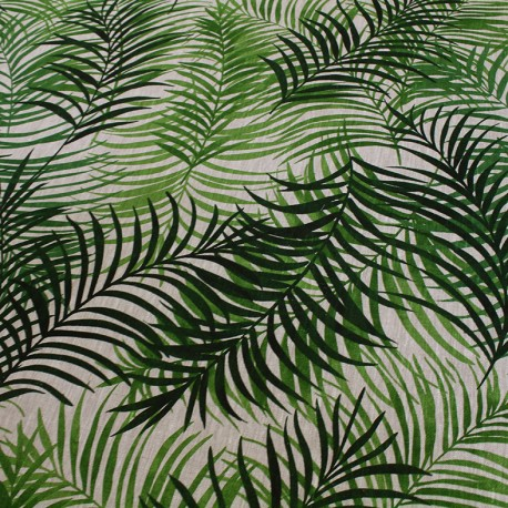 tissu toile lin feuillage vert x 50cm ma petite mercerie. Black Bedroom Furniture Sets. Home Design Ideas