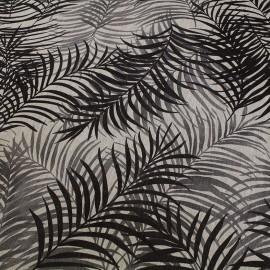 Tissu toile lin Feuillage - gris x 50cm