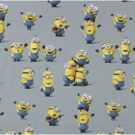 """Tissu coton Les Minions """"Hobby"""" - gris x 20cm"""