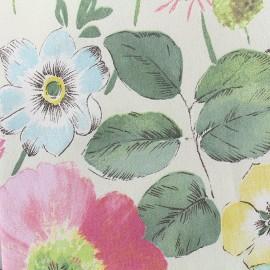 Tissu coton bachette Bloom - ivoire/rose x 50cm