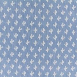 ♥ Coupon 30 cm X 140 cm ♥ Tissu Jeans fluide Cactus - blanc