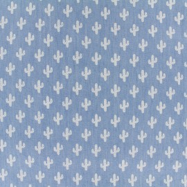 Chambray jeans fabric Cactus - white x 10cm